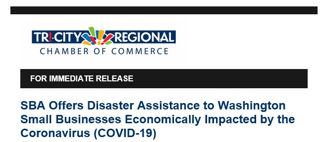 SBA Offers Disaster Assistance to WA Small Businesses Economically Impacted by the Coronavirus (COVID-19)
